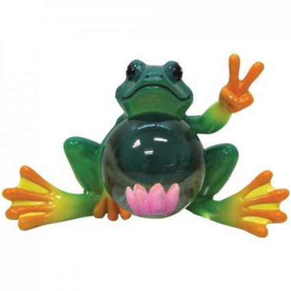 Peace Frogs Lotus Flower Ceramic Frog Figurine