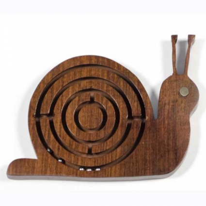 Handmade Wooden Rosewood Snail Labyrinth