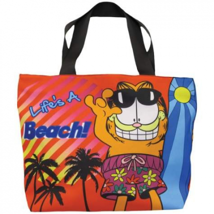 Life's A Beach Cloth Tote Bag With Garfield The Cat