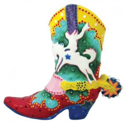 Lyndon Gaither Star Spur Cowboy Ceramic Boot Figurine