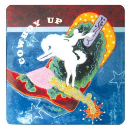 Artist Lyndon Gaither Cowboy Up Ceramic Decorative Tile
