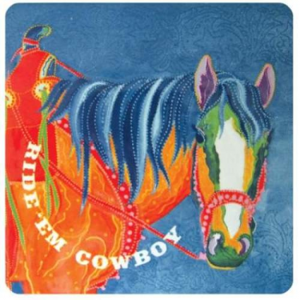 The Lyndon Gaither Collection Ride Em Cowboy Ceramic Tile