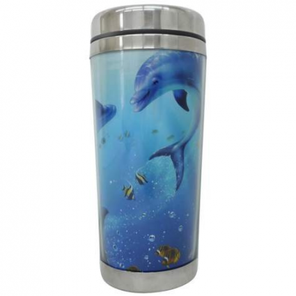 Our Happiness Playful Dolphins Stainless Steel Travel Mug