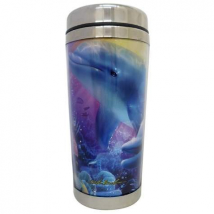 Believe In The Dream Playful Dolphins Stainless Steel Travel Mug