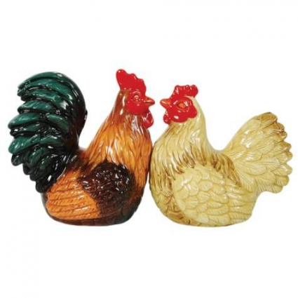 Rooster & Hen Magnetic Salt & Pepper Shakers From Mwah Collection