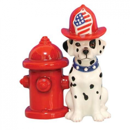 Dalmatian and Fire Hydrant Salt Pepper Shakers