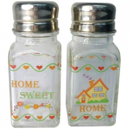 Home Sweet Home Glass Salt & Pepper Shakers From A Touch Of Glass