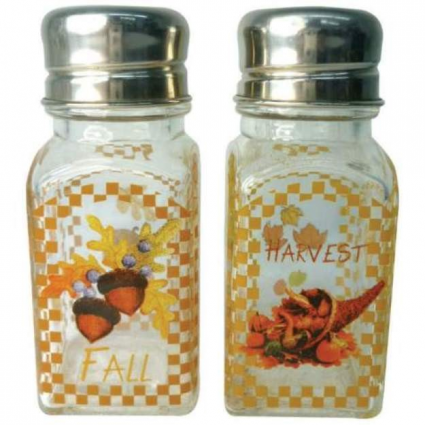Fall Harvest Glass Salt & Pepper Shakers From A Touch Of Glass