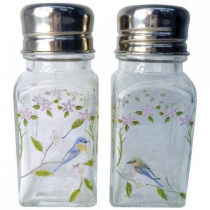 Songbirds Glass Salt & Pepper Shakers From A Touch Of Glass