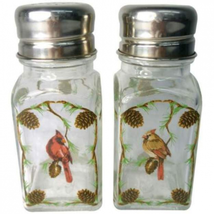 Cardinals Glass Salt & Pepper Shakers From A Touch Of Glass