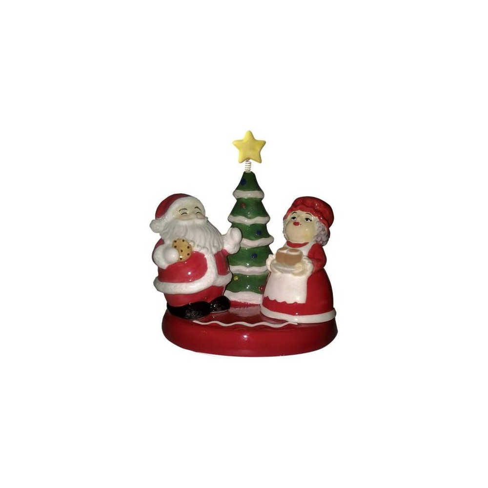 Santa Claus & Mrs Claus By The Christmas Tree Salt & Pepper Shakers