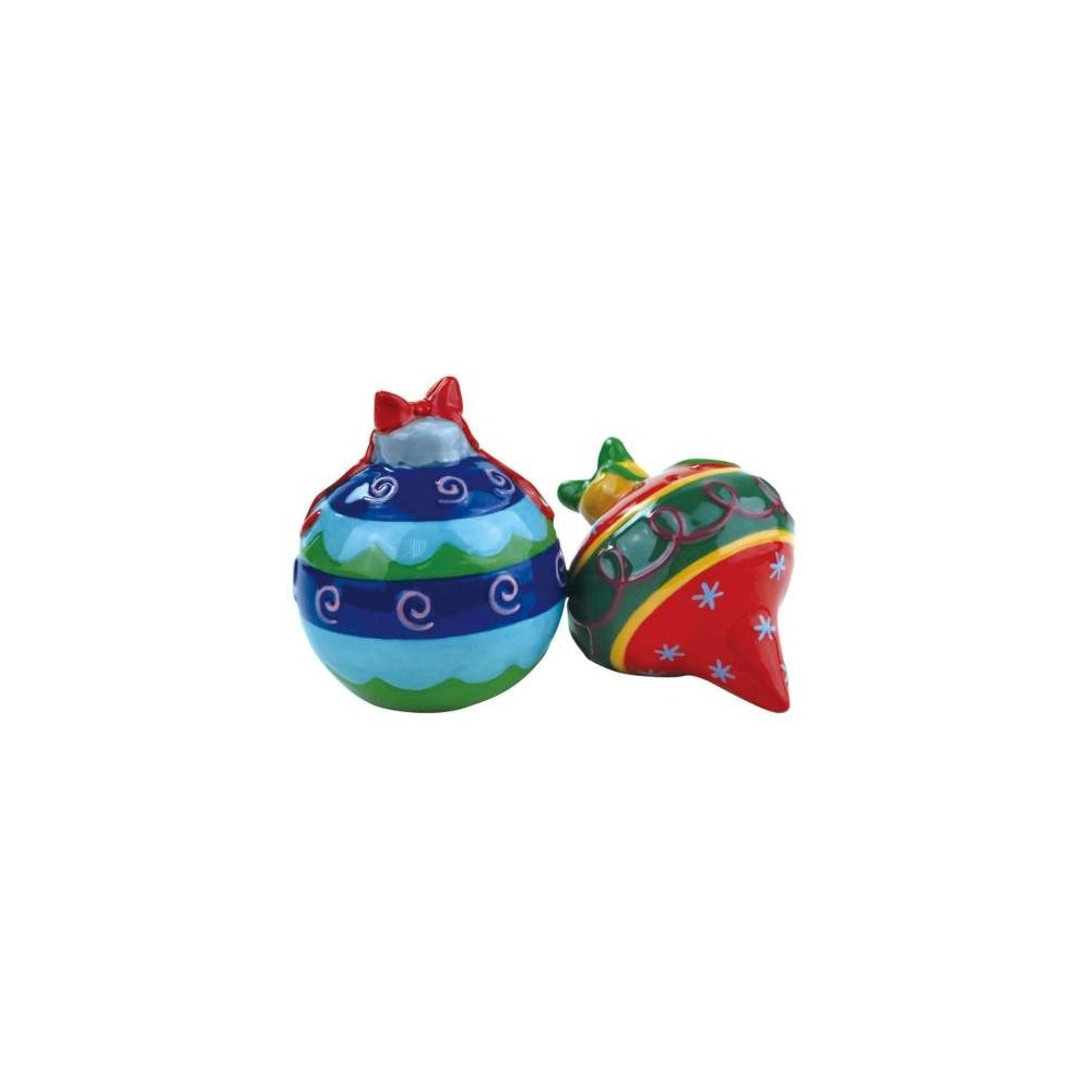 Colorful Christmas Ornaments Magnetic Ceramic Salt & Pepper Shakers