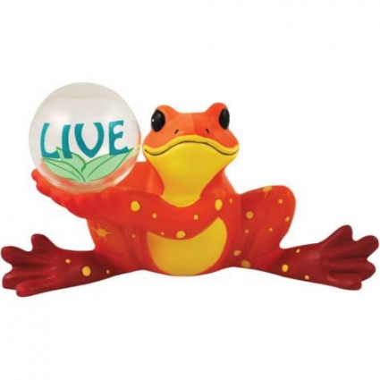 Peace Frogs Orange Live Ceramic Frog Figurine