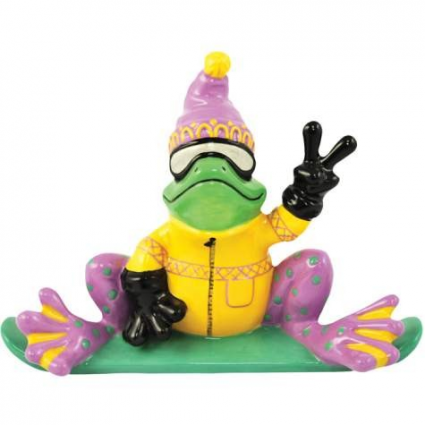 Peace Frogs Snowboarder Ceramic Frog Figurine