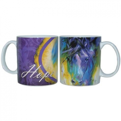 Abstract Blue Roan Ceramic 14 Ounce Coffee Mug Marcia Baldwin