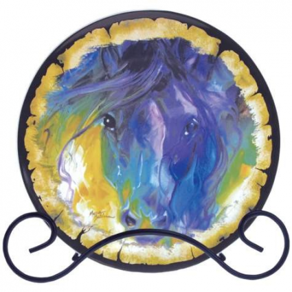 Marcia Baldwin Abstract Blue Roan Plate Stoneware Decorative Plate