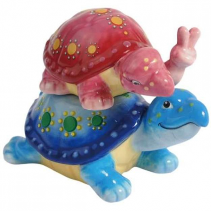 Peace Turtle Piggyback Ceramic Salt & Pepper Shakers