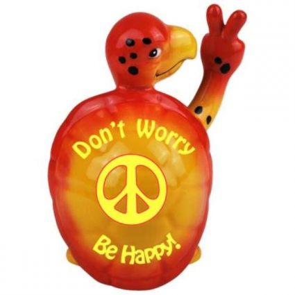 Do Nott Worry Be Happy Peace Turtle Ceramic Figurine