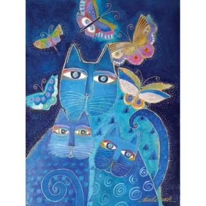 Laurel Birch Indigo Cats And Butterflies Canvas Wall Art