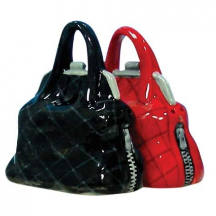 Black And Red Purses Ceramic Salt And Pepper Shakers