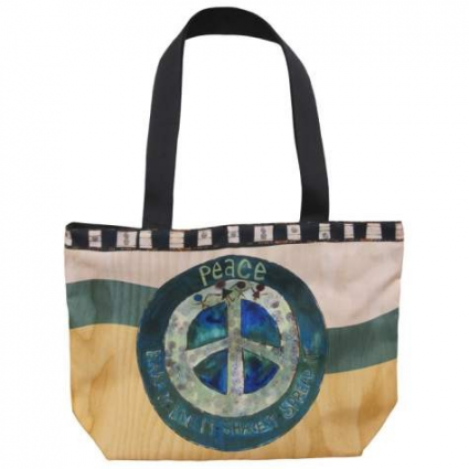 Painted Peace Cloth Peace Tote Bag From The Artist Stephanie Burgess