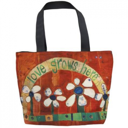 Painted Peace Love Grows Here Tote Bag From The Artist Stephanie Burgess