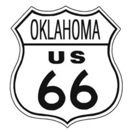 Oklahoma Route 66 Metal Replica Road Sign