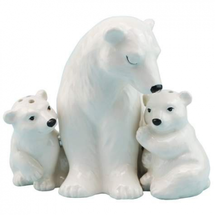 MWAH Mother Polar Bear And Cubs Ceramic Magnetic Salt And Pepper Shakers