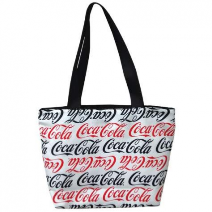 Coca Cola Black And Red Repeating Logo Cloth Tote Bag Ivey's Gifts and Decor