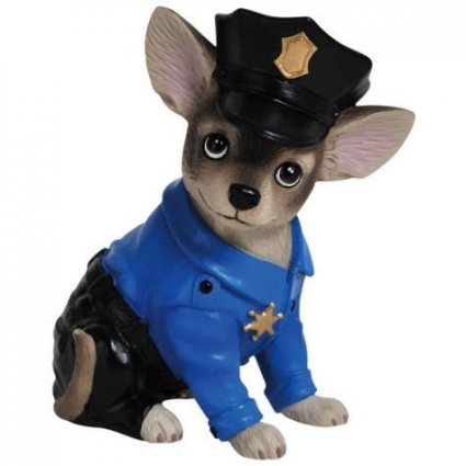 Aye Chihuahua Police Officer Pup Mini Chihuahua Figurine