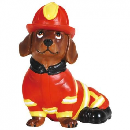 Hot Diggity Fireman Doxie Figurine