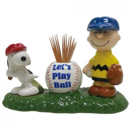 Peanuts Charlie Brown and Snoopy Let's Play Ball Salt and Pepper Shakers and Toothpick Holder