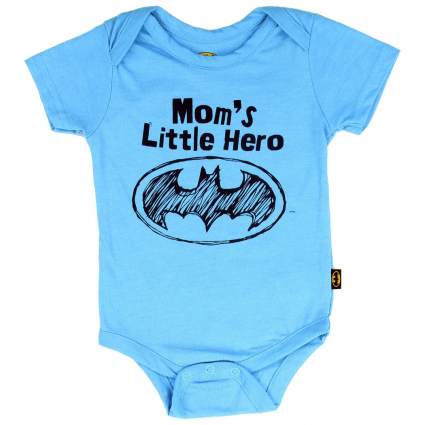 DC Comics Batman Mom's Little Hero Blue Onesie Makes A Great Gift At Ivey's Gifts & Decor