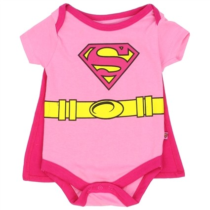 DC Comics Supergirl Pink Baby Onesie With Detachable Cape At Ivey's Gifts & Decor
