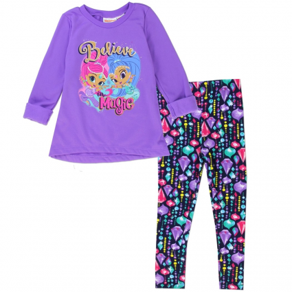 Nick Jr Shimmer and Shine Purple Believe In Magic Top With Printed Jeweled Leggings At Ivey's Gifts & Decor
