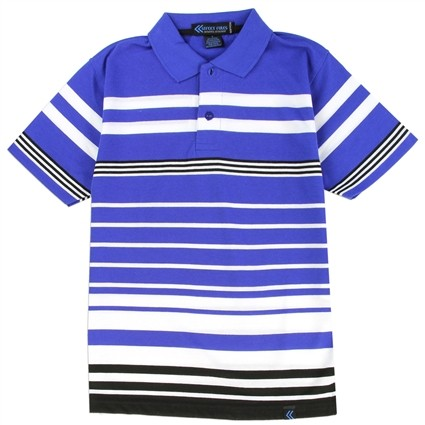 Street Rules Blue and White Striped Boys Polo Shirt At Ivey's Gifts & Decor