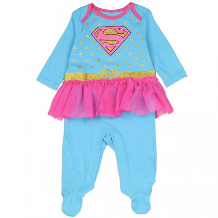 DC Comics Supergirl Blue Costume Footed Sleeper With Pink Tutu At Ivey's Gifts & Decor