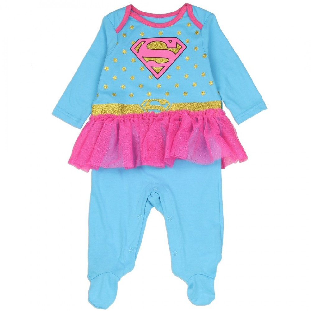 675a0d1bd9 DC Comics Supergirl Blue Costume Footed Sleeper With Pink Tutu Ivey s Gifts  and Decor. Loading zoom