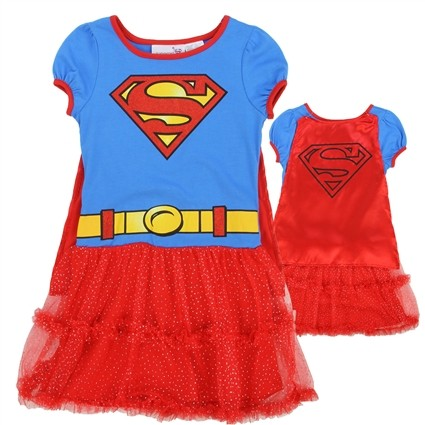 DC Comics Supergirl Blue And Red Dress With Red Detachable Cape At Iveys Gifts & Decor