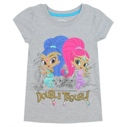 Nick Jr Shimmer And Shine Double Trouble Grey Girls Shirt At Ivey's Gifts and Decor