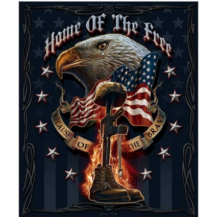 Bald Eagle Home Of The Free Because Of The Brave Fleece Blanket Ivey's Gifts And Decor