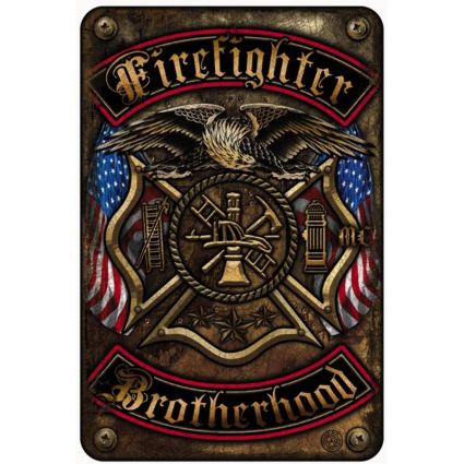Volunteer Firefighter Double Flag Brotherhood Metal Parking Sign