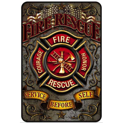Fire Rescue Service Before Self Metal Parking Sign At Ivey's Gifts And Decor