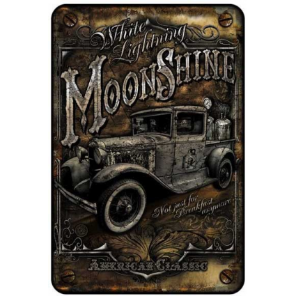 White Lightning Moonshine American Classic Aluminium Parking Sign At Ivey's Gifts And Decor