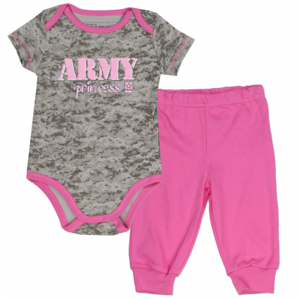 US Army Princess Grey Onesie With Pink Trim And Pink Pants At Ivey's Gifts And Decor