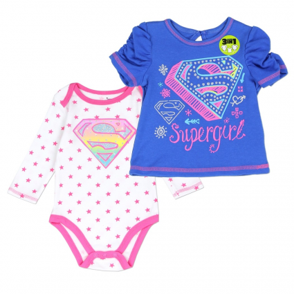 DC Comics Supergirl Long Sleeve Onesie With Short Sleeve Shirt At Ivey's Gifts & Decor