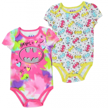 DC Comics Batgirl Multi Colored Pastel Onesie And White Onesie Set At Ivey's Gifts and Decor