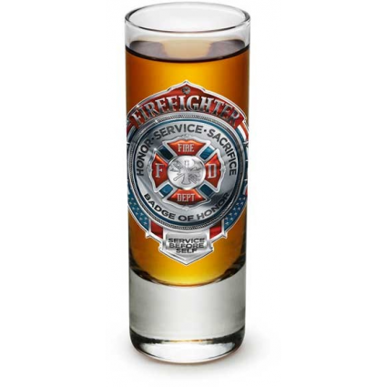 Erazor Bits Fire Fighters Honor Service Sacrifice Chrome Badge Fireman Shot Glass At Ivey's Gifts And Decor