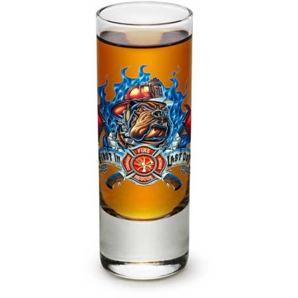 Erazor Bits Firefighters First In Last Out 2 oz Shot Glass At Ivey's Gifts And Decor