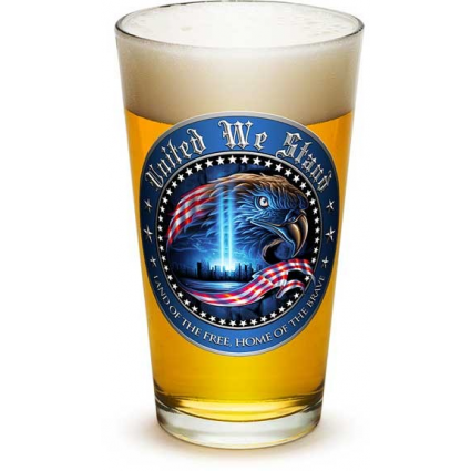 America The Land Of The Free Home Of The Brave Pint Glass At Ivey's Gifts And Decor